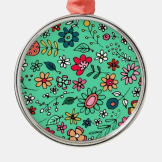 Ornement Rond Argenté Floral moderne