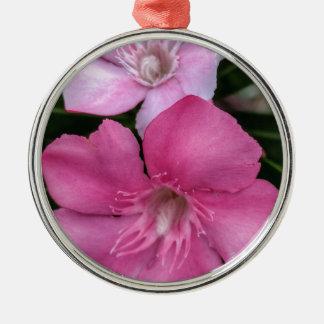 Ornement Rond Argenté Floral rose