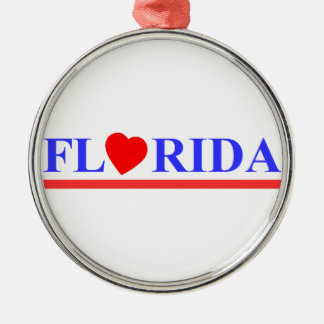 Ornement Rond Argenté Florida coeur rouge