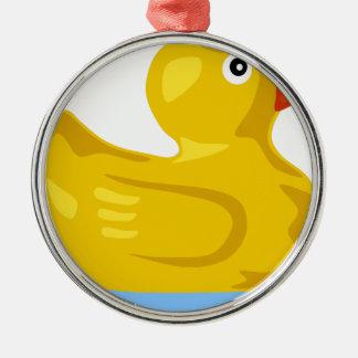 Ornement Rond Argenté Flottement en caoutchouc de canard