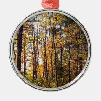 Ornement Rond Argenté Forêt d'automne du New Hampshire