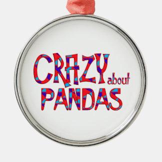 Ornement Rond Argenté Fou au sujet des pandas
