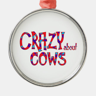 Ornement Rond Argenté Fou au sujet des vaches