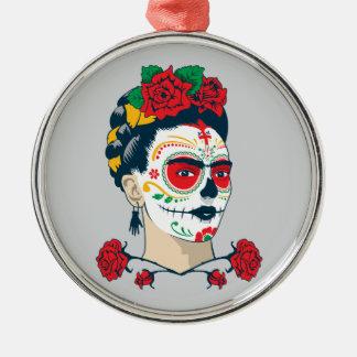 Ornement Rond Argenté Frida Kahlo | El Día de los Muertos