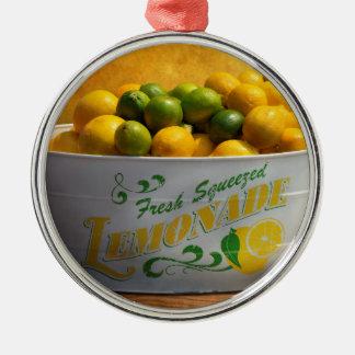 Ornement Rond Argenté Fruit - citrons - quand la vie vous donne des