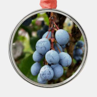 Ornement Rond Argenté Fruit de prunellier
