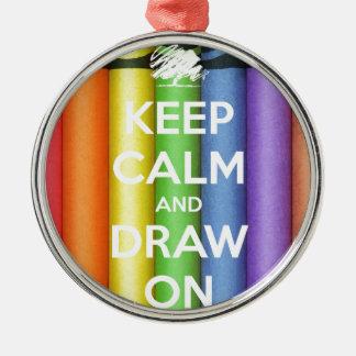 Ornement Rond Argenté Gardez le calme et dessinez sur des couleurs