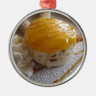 Ornement Rond Argenté Gâteau couvert par confiture de crème glacée