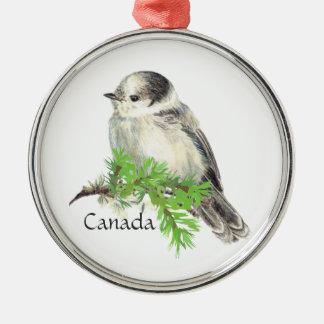 Ornement Rond Argenté Geai gris gris de l'oiseau national du Canada,