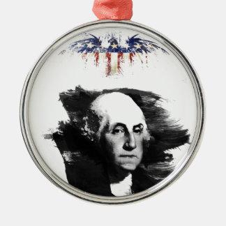 Ornement Rond Argenté George Washington