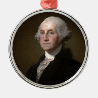Ornement Rond Argenté George Washington - portrait vintage d'art