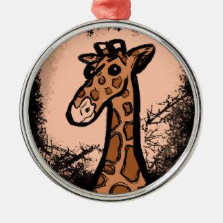 Ornement Rond Argenté Girafe noire d'encre de bande dessinée