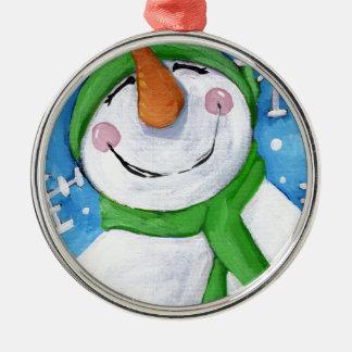 Ornement Rond Argenté Givré le bonhomme de neige heureux