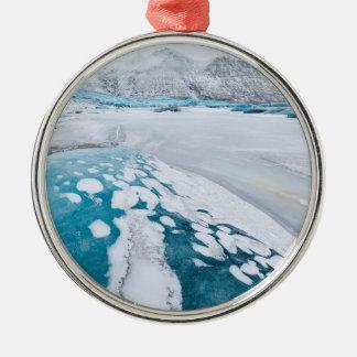 Ornement Rond Argenté Glace congelée de glacier, Islande