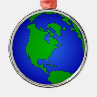 Ornement Rond Argenté Globe de la terre