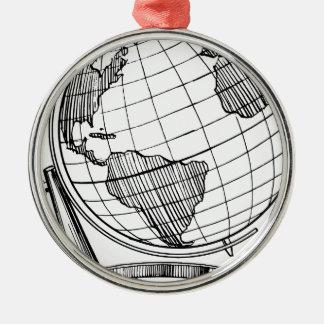 Ornement Rond Argenté Globe du monde