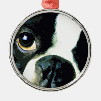 Ornement Rond Argenté grand Boston moderne Terrier