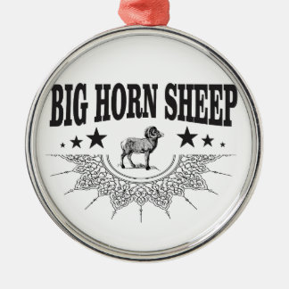 Ornement Rond Argenté grands moutons à cornes de chasse