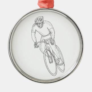 Ornement Rond Argenté Griffonnage de emballage de bicyclette de route