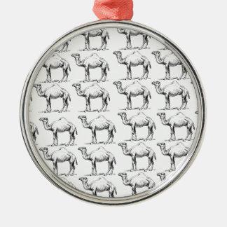 Ornement Rond Argenté groupe de troupeau de chameaux