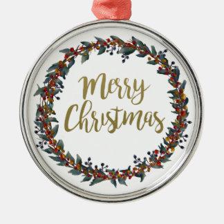 Ornement Rond Argenté Guirlande d'aquarelle - Joyeux Noël - branches