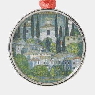 Ornement Rond Argenté Gustav Klimt - église dans l'oeuvre d'art de