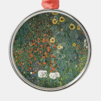 Ornement Rond Argenté Gustav Klimt - fleurs de tournesols de jardin de