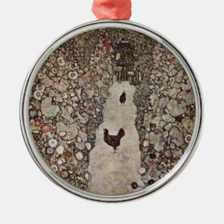 Ornement Rond Argenté Gustav Klimt - jardin avec des coqs