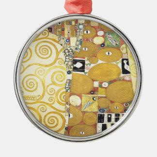 Ornement Rond Argenté Gustav Klimt - l'étreinte - illustration classique