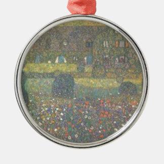 Ornement Rond Argenté Gustav Klimt - maison de campagne par l'art