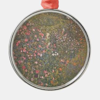 Ornement Rond Argenté Gustav Klimt - paysage horticole italien