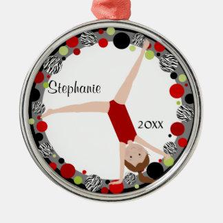 Ornement Rond Argenté Gymnaste de cheveux de Brown en souvenir rouge,