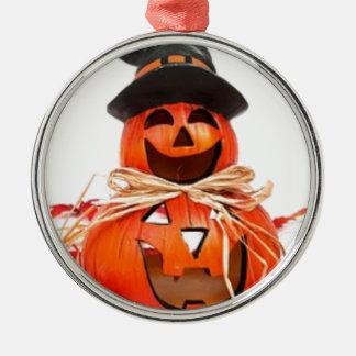 Ornement Rond Argenté Halloween, chute, citrouilles d'automne