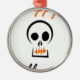 Ornement Rond Argenté Halloween heureux