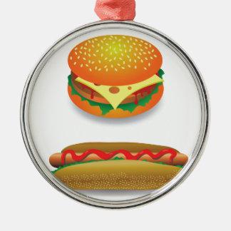 Ornement Rond Argenté Hamburger