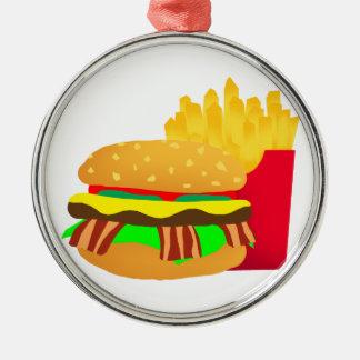 Ornement Rond Argenté Hamburger et fritures