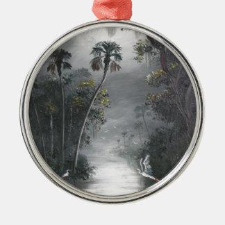 Ornement Rond Argenté Héron brumeux de rivière de la Floride