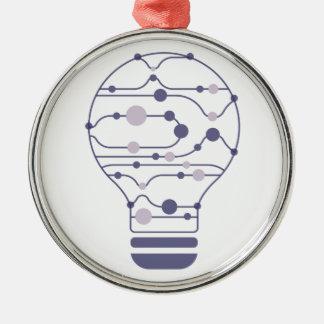 Ornement Rond Argenté Hexahedrons à l'intérieur d'ampoule d'idée