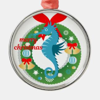 Ornement Rond Argenté hippocampe de Joyeux Noël