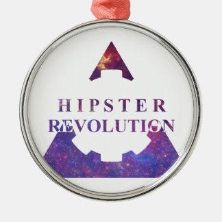 Ornement Rond Argenté Hipster Revolution Gear