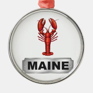 Ornement Rond Argenté Homard du Maine
