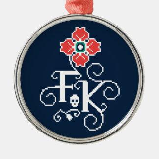 Ornement Rond Argenté Hommage floral de Frida Kahlo |