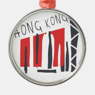Ornement Rond Argenté Hong Kong