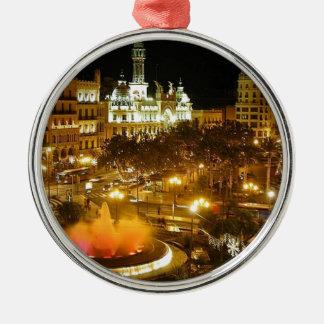 Ornement Rond Argenté Horizon de nuit de Madrid