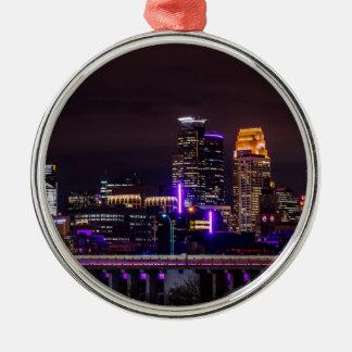 Ornement Rond Argenté Horizon de nuit de Minneapolis