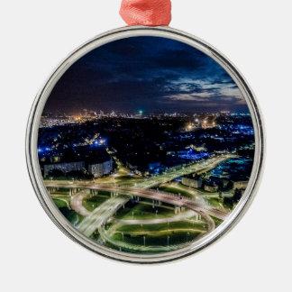 Ornement Rond Argenté Horizon de nuit de Riga