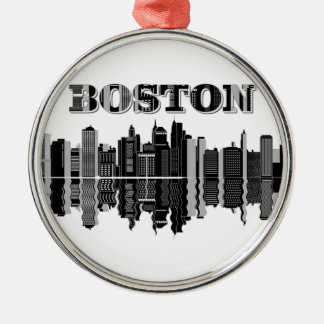 Ornement Rond Argenté Horizon de ville de Boston
