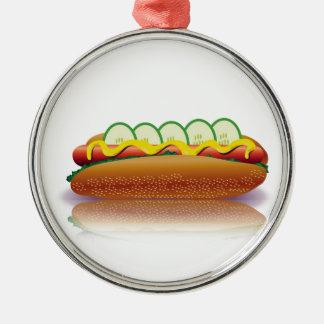 Ornement Rond Argenté hot-dog