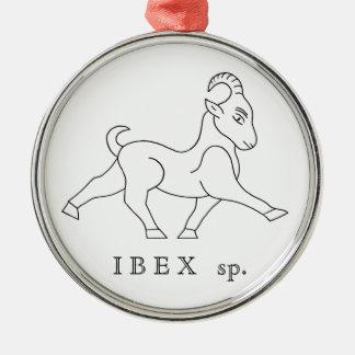 Ornement Rond Argenté Ibex sp. Bouquetin