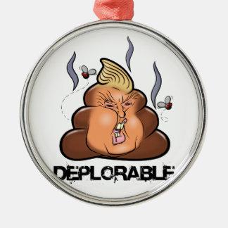 Ornement Rond Argenté Icône drôle de Donald Trump - de Trumpy-Poo Poo